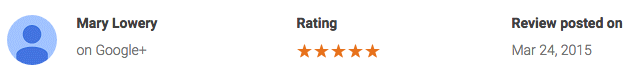 Mary L google review