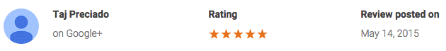 Taj P google review