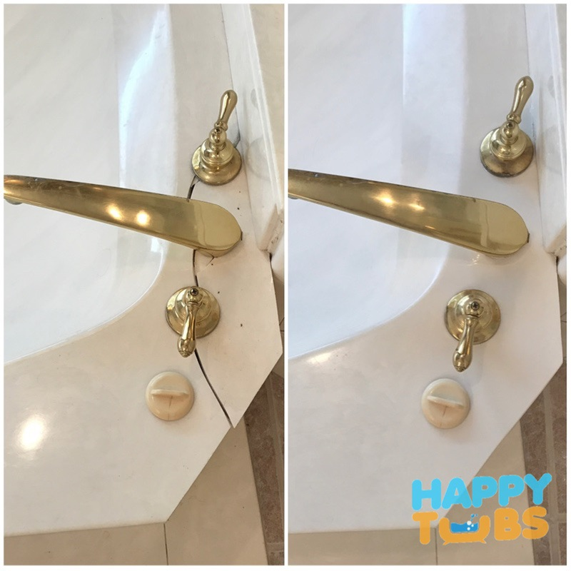 Cultured Marble Bathtub Crack Repair in Plano, TX pic