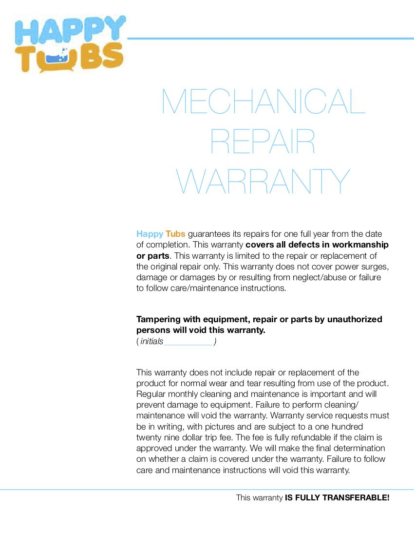 Mechanical Repair Warranty